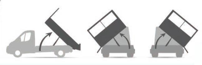 Configuration benne triverse basculement arrière et latéral