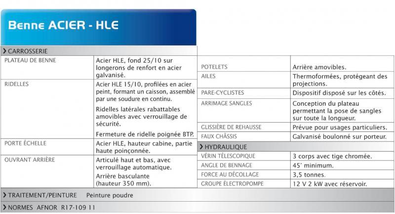 tableau caractéristiques benne HLE