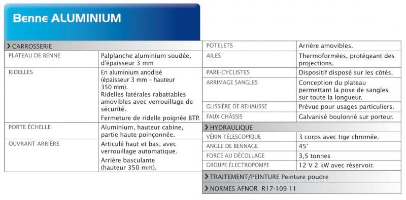 tableau caractéristiques benne Aluminium